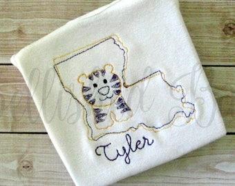 Louisiana Tiger Vintage Stitch Personalized bodysuit or T-shirt