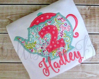 Personalized Teapot with Birthday Number Applique Ruffle T-shirt or Onesie for Girls Tea Party Shirt