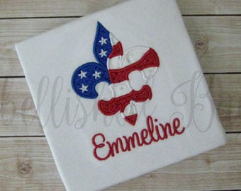 Patriotic USA Flag Fleur de Lis Applique Ruffle T-shirt or onesie Personalized with Name for Girls