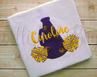 Vintage Stitch Megaphone and PomPoms Personalized Appliqued Ruffle T-shirt  for Girls, LSU, Saints or YOUR team