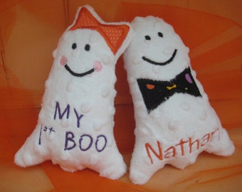Soft and Plush Personalized Stuffed Halloween My First Boo Ghost Toy for Baby or Pet Dog