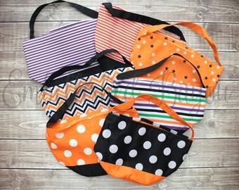 Trick or Treat Bag, Orange Stripe Halloween Bucket with Name, Personalized Candy Bag, Multi Stripe, Polka Dot Monogrammed Halloween Bag