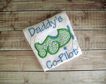 Daddy's Co-Pilot Onesie or Tshirt with Chevron Airplane Applique for Boys