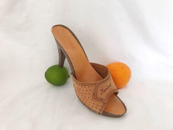 Sandals Italy Perforated Janine Heel US 8 High 70s Mules Vintage Nubuck in Janine 1970s Leather Made Slides The BZUP0