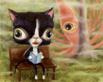Tuxedo Cat & Squid Daydream Whimsical Pop Surrealism, Children's Decor, Nursery Art Print