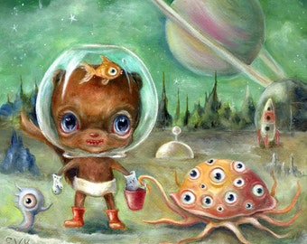 Chipmunk in Outer Space Art,  Colorful Retro Sci Fi, Pop Surrealism, Whimsical Green Alien Planet Giclee Print, Lunchbox on Iapetus