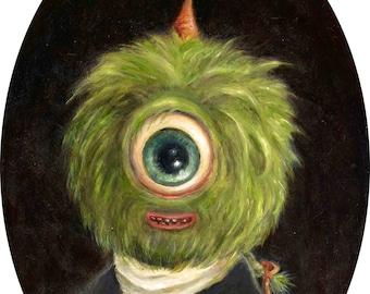 Green Cyclops Monster Portrait, Funny George Washington Print, Pop Surrealism Lowbrow art