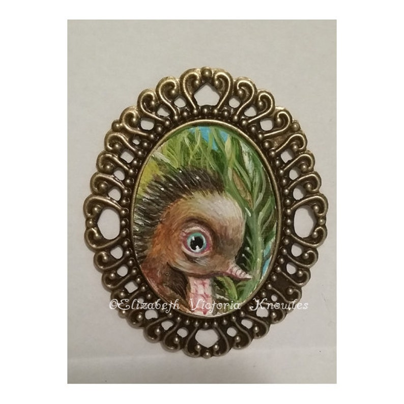 Miniature Hedgehog Cameo Painting Necklace Hand Painted image 0