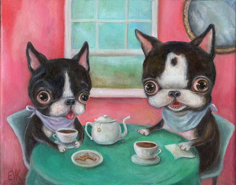 Boston Terrier Art Print Dog Art Print Tea Party Pop image 0