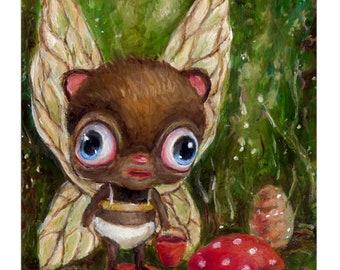 Whimsical Animal Mushroom Fairy Art Print, Pop Surrealism Big Eye Children's Nursery Illustration