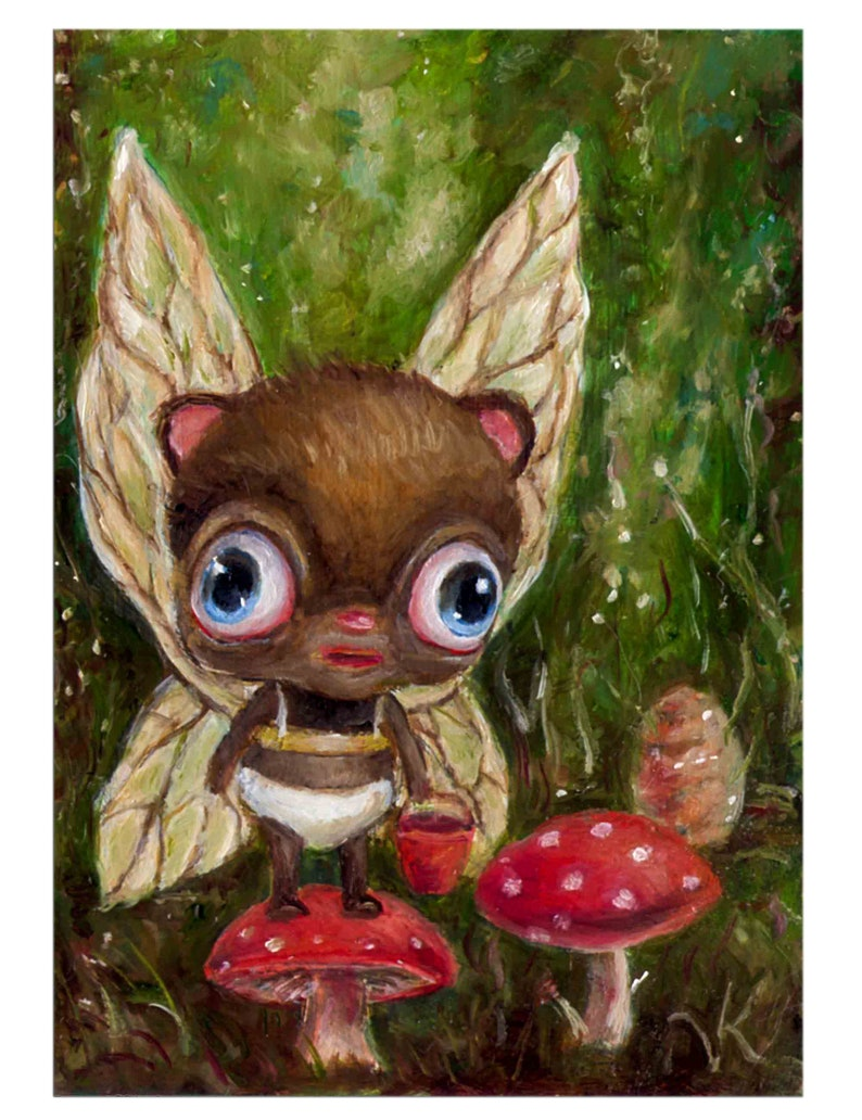 Whimsical Animal Mushroom Fairy Art Print Pop Surrealism Big image 0