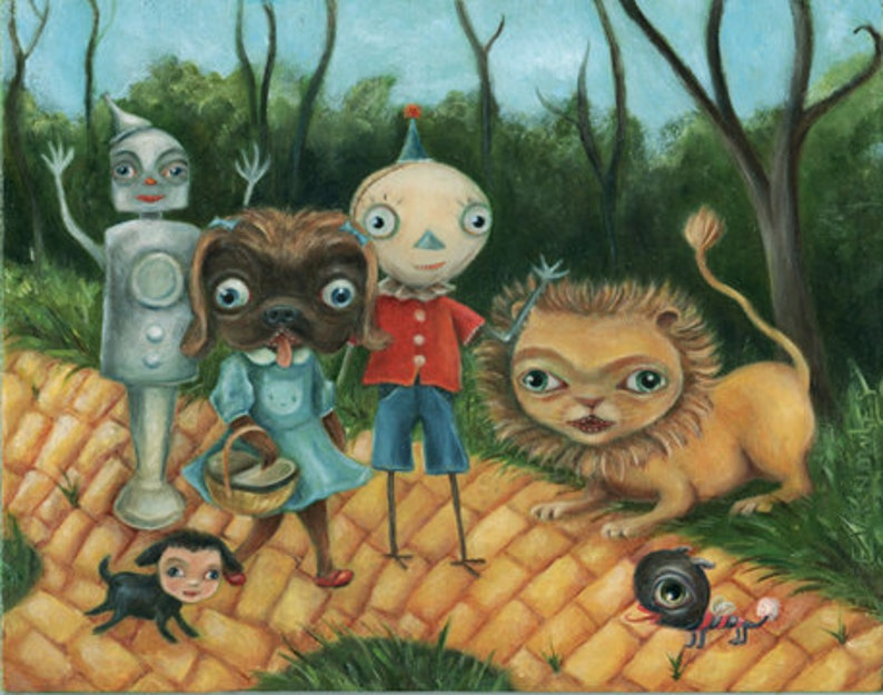 Surreal Funny Wizard of Oz Painting Dressed animals Yellow image 0
