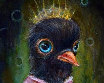 Big Eye Blackbird Print, Whimsical Dressed Crow Art, Pop Surrealism, Lowbrow Art