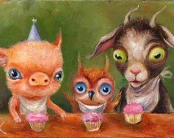 Animal Birthday Party - Owl Goat & Pig with Cupcakes Art Print Whimsical Big Eye Children's Nursery Illustration