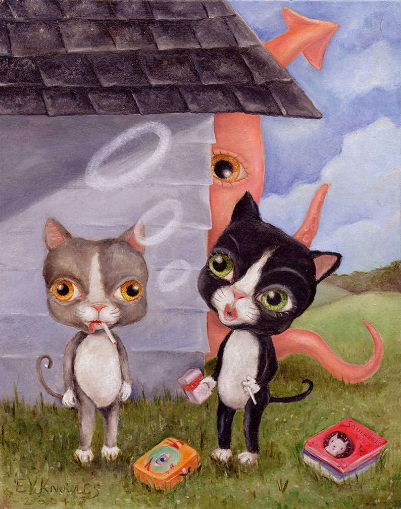 Funny Smoking Cats and Squid Illustration Wall Art Print Pop image 0