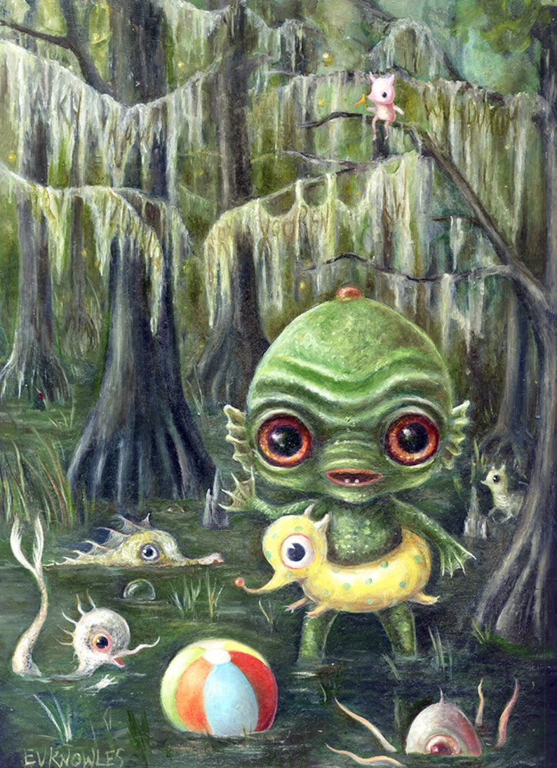 Baby Creature From the Black Lagoon Print  Swimming Swamp image 0