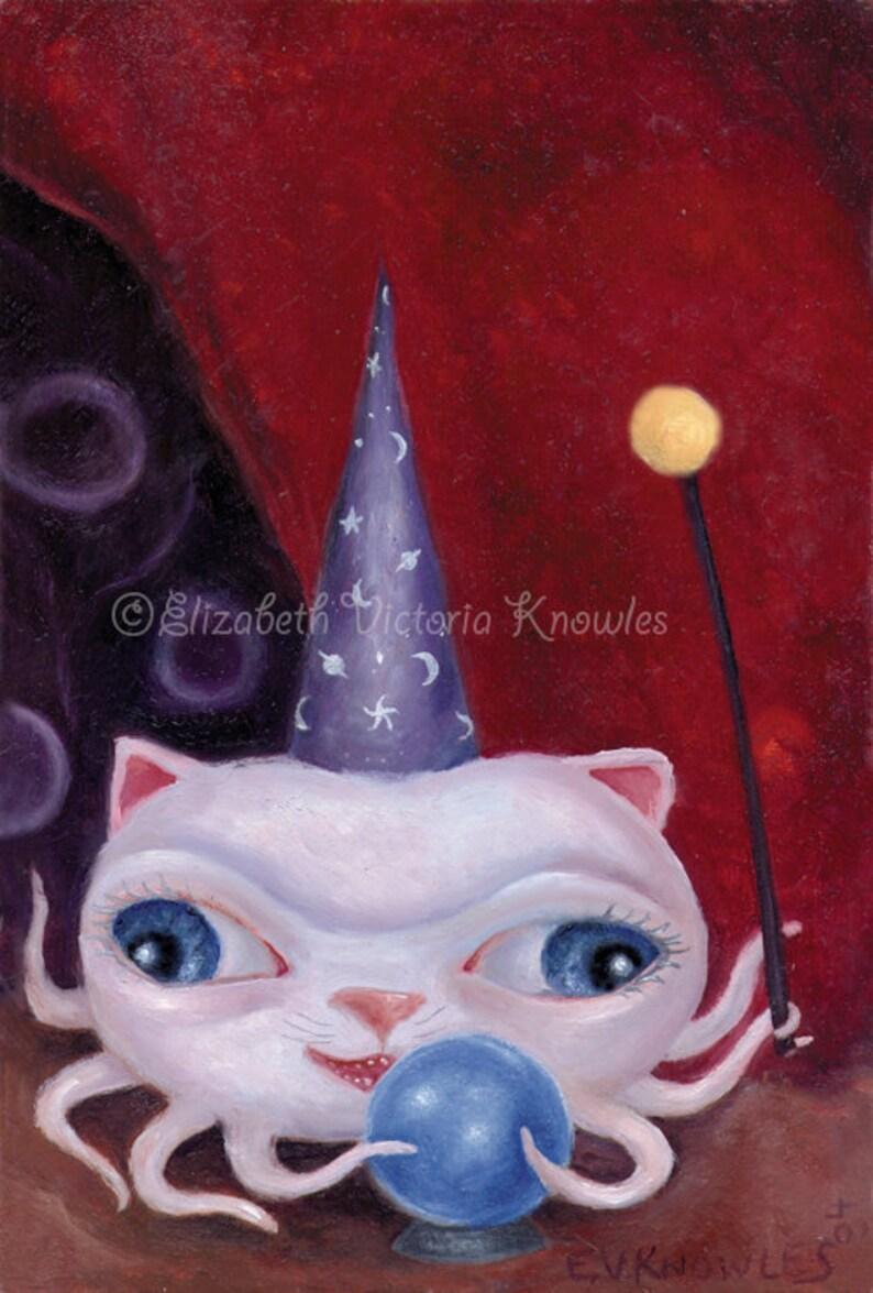 White Cat & Octopus Hybrid Surreal Wizard  Fortune Teller image 0