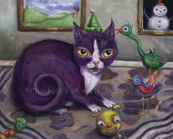 Cat Art Print Surreal Art Bird Art Scary Birthday Party Etsy
