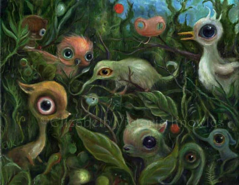Surreal Art Print Big Eye Art Pop Surrealism Jungle Wall image 0