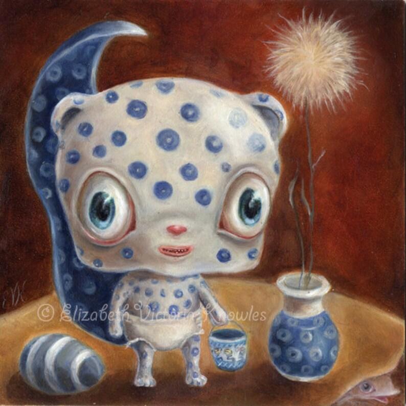 Polish Pottery Chipmunk Still Life Big Eye Art  Creepy Cute image 0