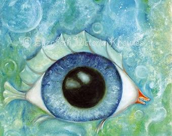 Surreal Eyeball Fish, Big Eye Art Print, Lowbrow Art, Pop Surrealism, Blue, EVK, Print Size Options Available