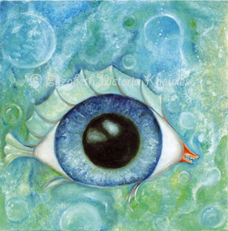 Surreal Eyeball Fish Big Eye Art Print Lowbrow Art Pop image 0