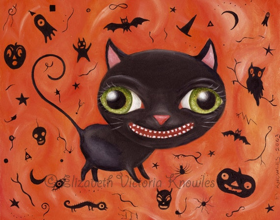 Vintage Halloween Black Cat Art, Pop Surrealism, Big Eye Art Print,  Whimsical Painting, Silhouette, Holiday Decor, Surreal, Wibbley World