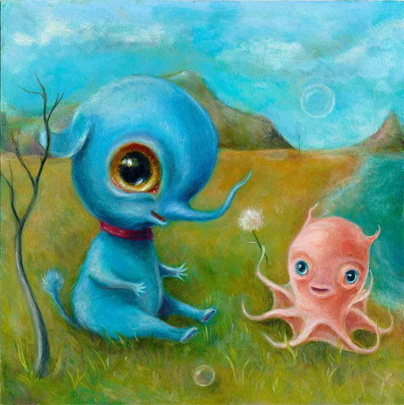 Blue Baby Elephant & Octopus Print Creepy Cute Nursery Art image 0