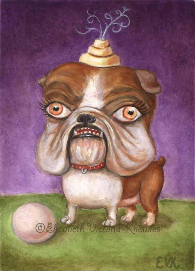 English Bulldog Art Print Big Eye Art Lowbrow Art Pop image 0