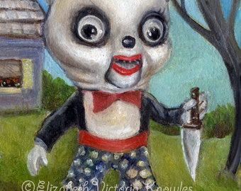 Demented Serial Killer Vintage Marionette Panda, Scary Toy, Pop Surrealism, Knowles, Print size options available