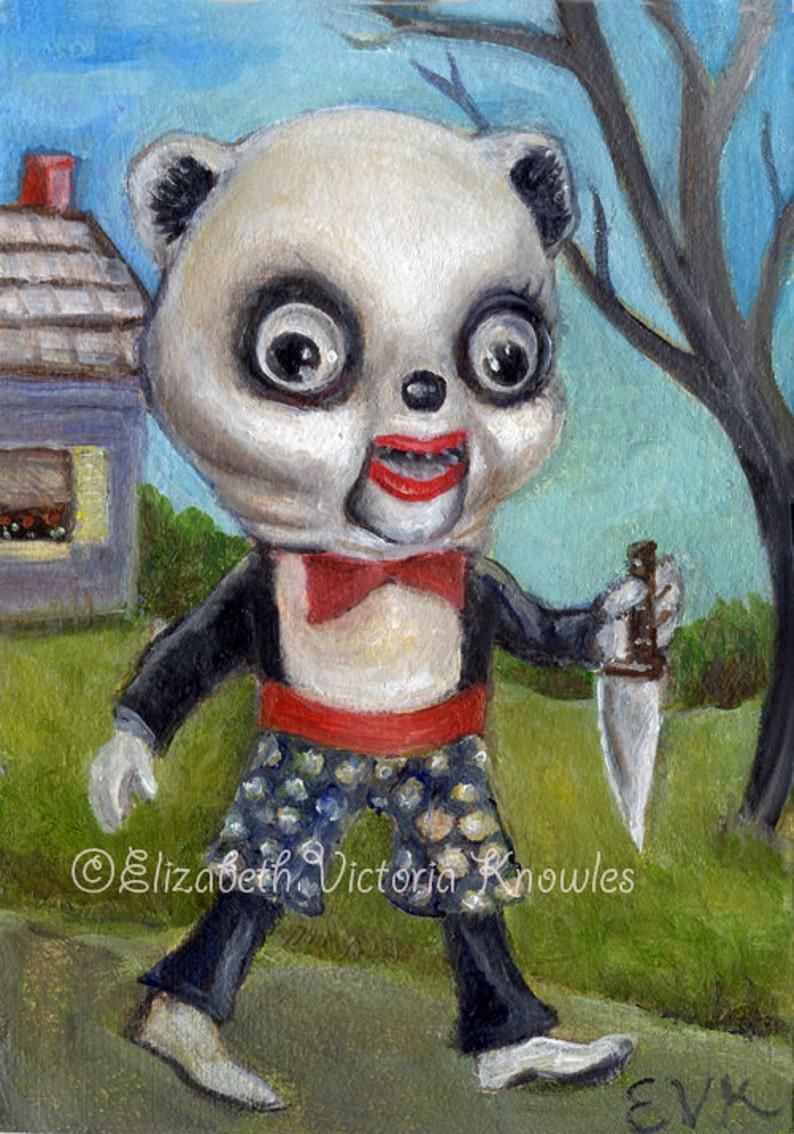 Demented Serial Killer Vintage Marionette Panda Scary Toy image 0