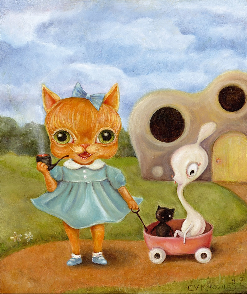 Big Eye Pipe Smoking Dressed Orange Cat print cute monsters image 0