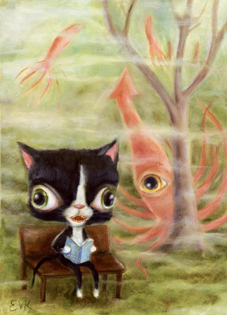 Tuxedo Cat & Squid Daydream Whimsical Pop Surrealism image 0