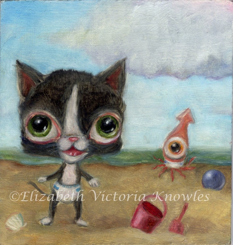 Baby Kitten & Squid in Diapers Beach scene Big Eye Lowbrow image 0