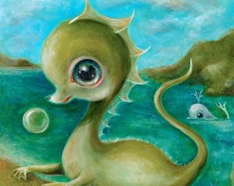 Baby Sea Monster & Whale Print, Creepy Cute Nursery Art, Lowbrow Pop Surrealism