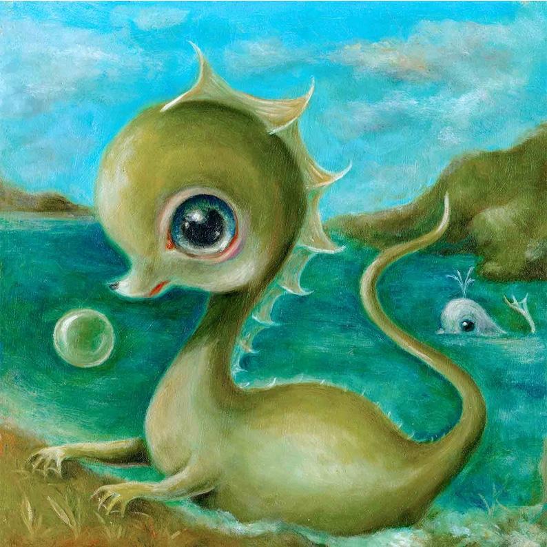 Baby Sea Monster & Whale Print Creepy Cute Nursery Art image 0