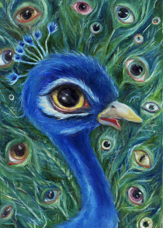 Surreal Peacock Art Print Whimsical Bird Illustration Pop image 0
