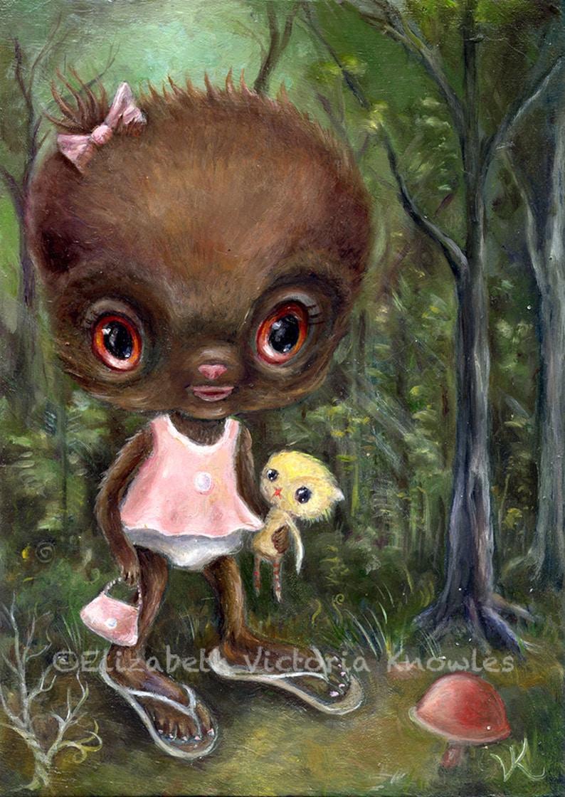 Cute Monster Baby Bigfoot Sasquatch Art print Pop image 0