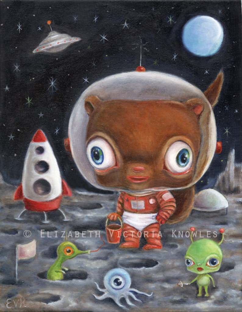 Retro Sci Fi Art Space Aliens Chipmunk on the Moon Big Eye image 0