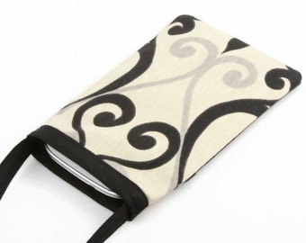 Cell Phone Pouch, Cell Phone Bag, Cross Body Bag, Smart Phone Pouch, Women's Accessories, Cell Phone Purse, Black, Cream and Gray Swirls