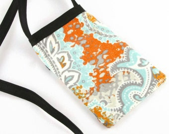 Cell Phone Pouch, Cell Phone Bag, Cross Body Bag, Smart Phone Pouch, Women's Accessories, Gray, with Turquoise, Tangerine and Cream Paisley