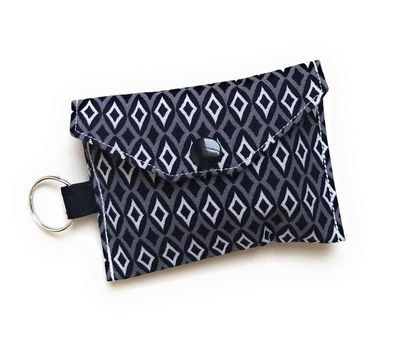 Credit Card Pouch AirPods Charger Fabric Keychain Credit Card Holder Mini Keychain Purse Minimalist Credit Card Keychain ID Keychain