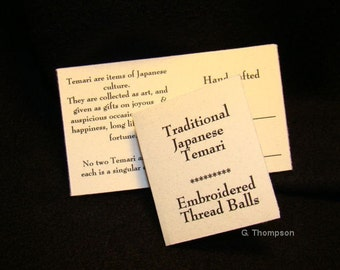 Hang Tags for your Finished Temari -  Package of 10