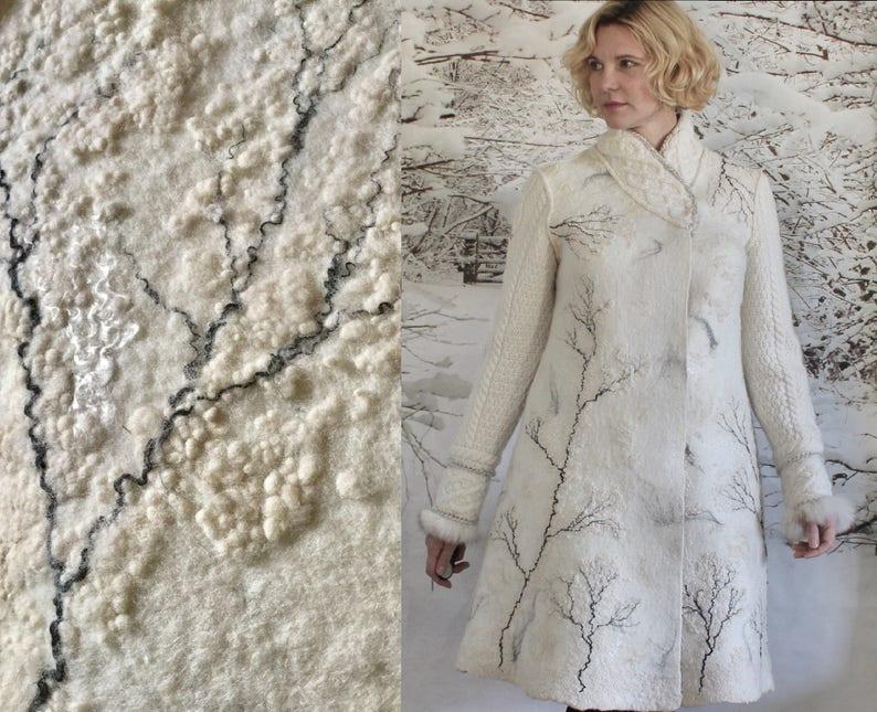 Cappotto in feltro bianco cappotto di inverno di lana Eco  9d93d30dbf4