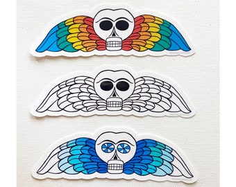 Set of 3 Assorted Memento Winged Skull Death's Head Stickers