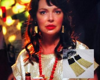 Seen on Katherine Heigl in Firefly Lane - Long Fringe Earrings, Black and Gold Handwoven Dangle Women's Evening Fashion, Classy Earrings