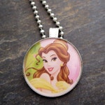 Belle Pendant  Disney Princess Necklace  Princess Backpack Charm Belle Party Favors Keychain Gift Light Pull Birthday Goodie Bags for Girls