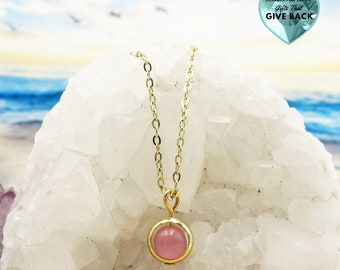 Pink Cat's Eye Necklace Delicate Minimalist Necklace For Women, Small Light Pink Pendant For Everyday Teen Jewelry Spring and Summer For Her