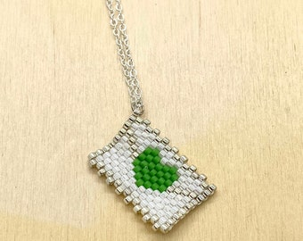 Envelope Necklace, Love Heart Letter Pendant, Small Green Jewelry, Cute Jewelry for Women, Gift for Her for Christmas, Special Delivery, SSD