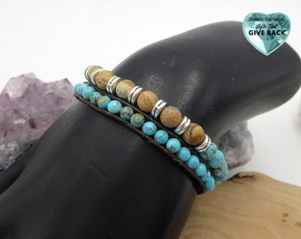 Blue Stone Bracelet Set Leather Cord Earthy Unisex Jewelry, Boho Stretch Wrap Women's Tan Brown Men's Women's   Stackable Bracelet